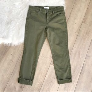 LOFT 28/6 Green Modern Skinny Crop Pants Raw Hem